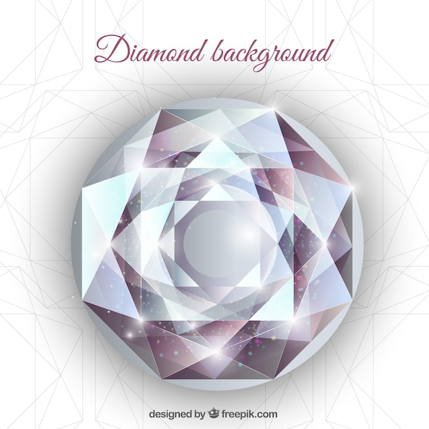 Fond réaliste avec diamant géométrique Vecteur gratuit