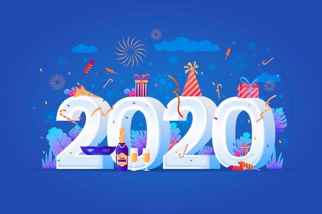 Fond réaliste drôle de nouvel an 2020 Vecteur gratuit