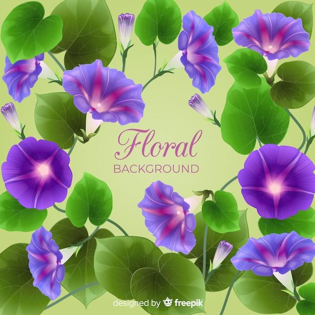 Fond réaliste de fleurs et feuilles Vecteur gratuit