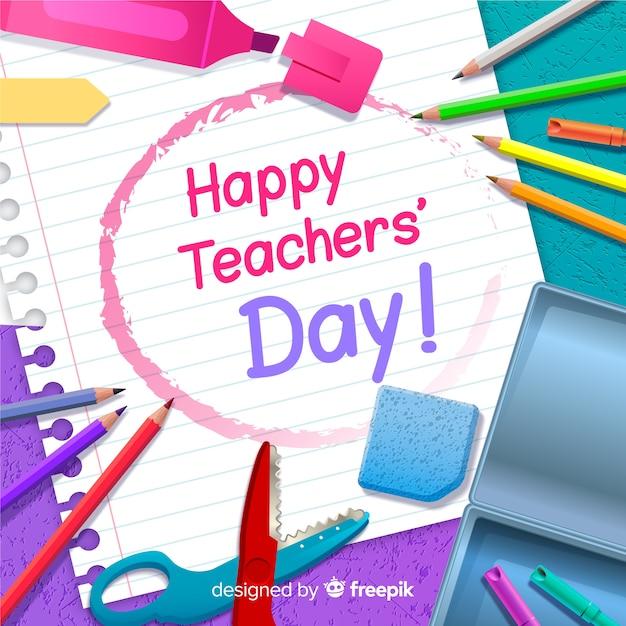 Fond réaliste de la journée des enseignants Vecteur gratuit