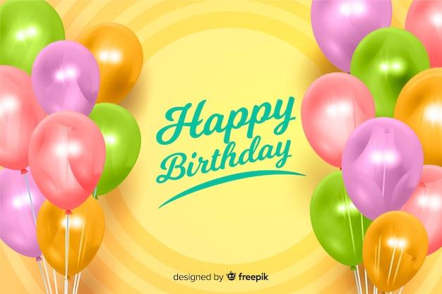 Fond réaliste joyeux anniversaire Vecteur gratuit
