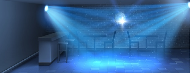 Fond réaliste avec piste de danse vide en boîte de nuit. discothèque moderne Vecteur gratuit