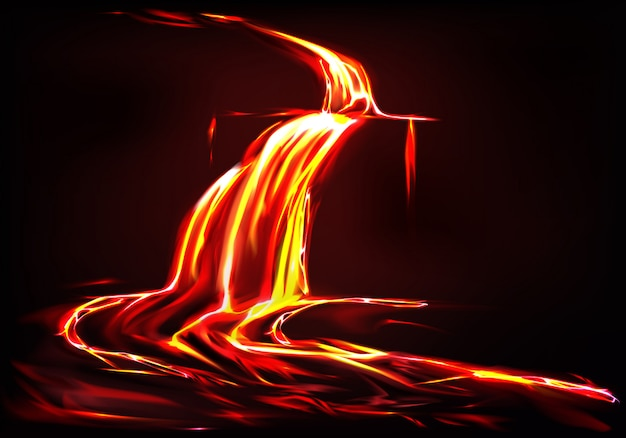 Fond réaliste avec la rivière de lave, flux de feu liquide dans l'obscurité. Vecteur gratuit