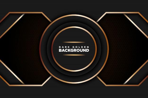 Fond réaliste sombre avec une ligne dorée en forme d'hexagone Vecteur Premium