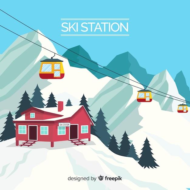 Fond réaliste de la station de ski Vecteur gratuit