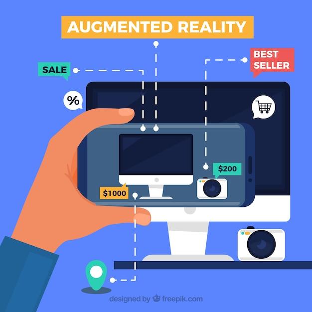 Fond de réalité augmentée avec dispositif Vecteur gratuit