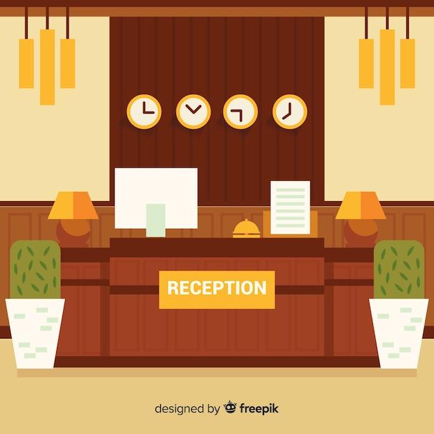 Fond de réception d'hôtel tons chauds Vecteur gratuit