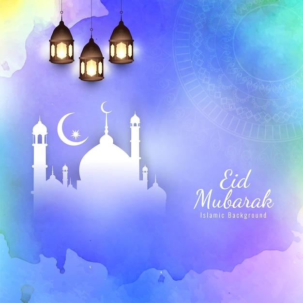 Fond religieux islamique coloré eid mubarak Vecteur gratuit