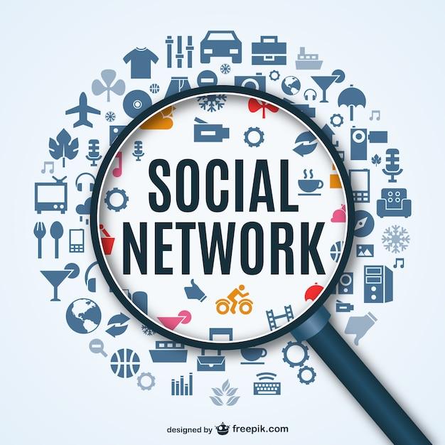 Fond de réseau social avec des icônes Vecteur gratuit