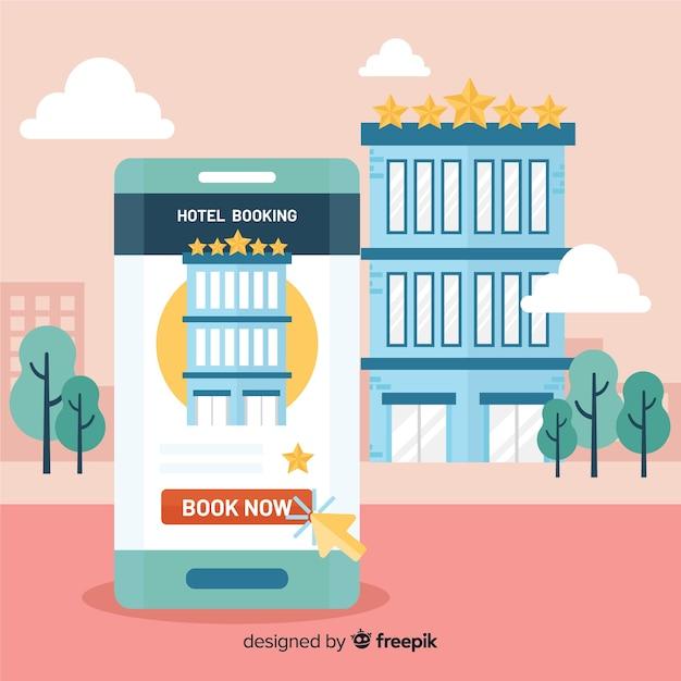 Fond de réservation d'hôtel smartphone plat Vecteur gratuit