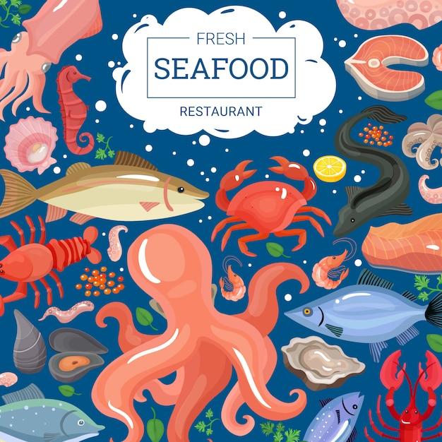Fond de restaurant de fruits de mer frais Vecteur gratuit
