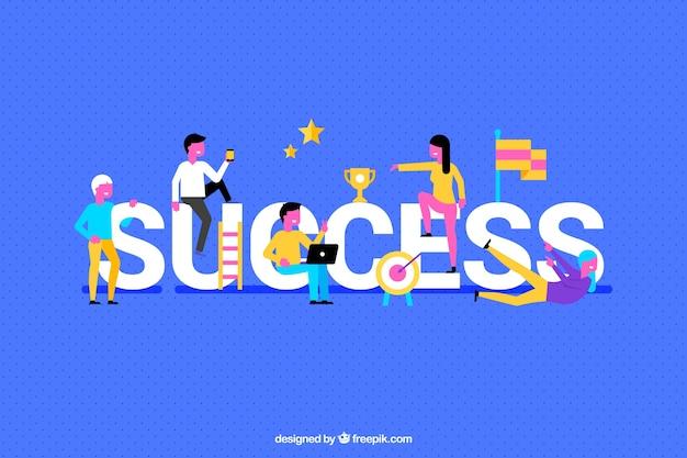 Fond de réussite coloré avec des gens Vecteur gratuit