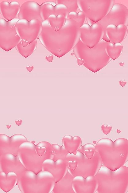 Fond Romantique Avec Des Coeurs Roses 3d Pour La Saint Valentin Vecteur Premium