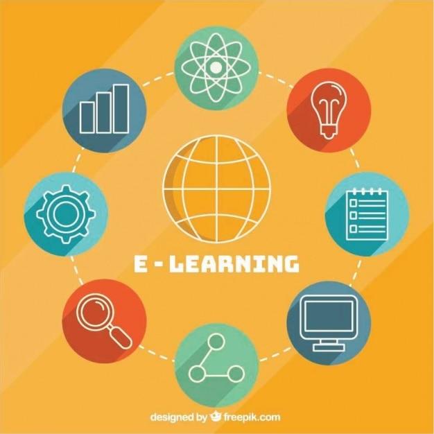 fond rond avec des  u00e9l u00e9ments d u0026 39 apprentissage en ligne
