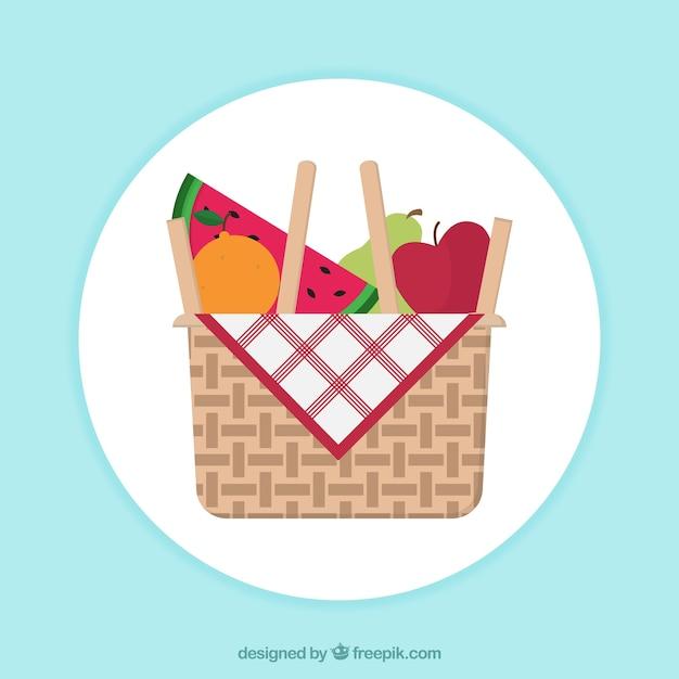 Fond rond de panier avec des fruits Vecteur gratuit