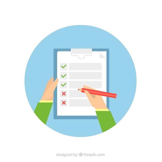 Fond rond avec personne remplissant un formulaire Vecteur gratuit