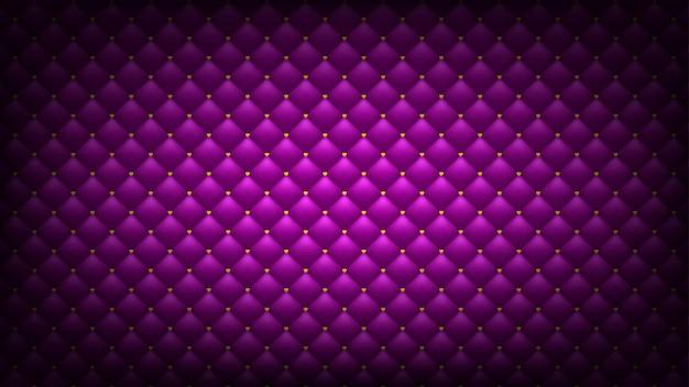 Fond rose matelassé. coeurs d'or. papier peint romantique grand écran Vecteur Premium