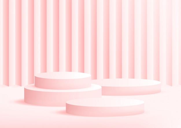 Fond Rose Studio Podium Vide Pour L'affichage Du Produit Avec Espace De Copie. Vecteur Premium