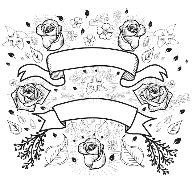 Fond de roses et roses Vecteur gratuit