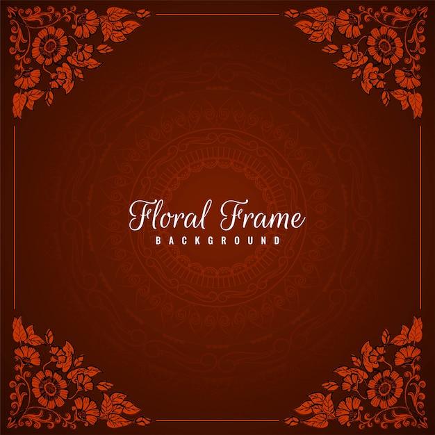 Fond rouge abstrait cadre floral Vecteur gratuit