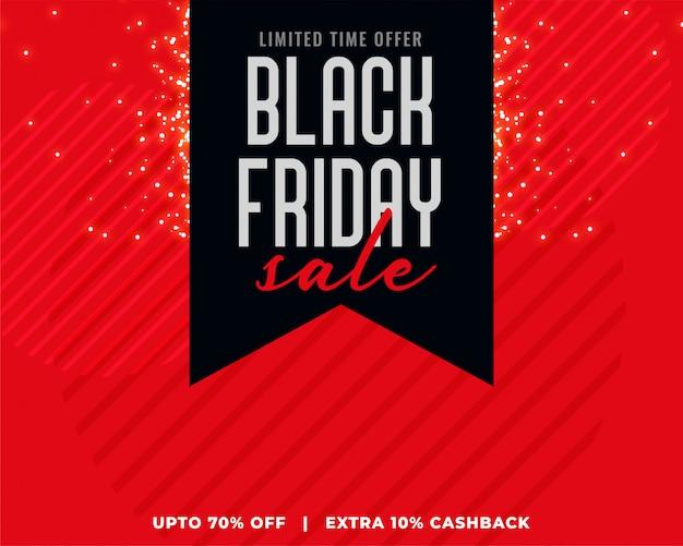 Fond rouge avec bannière de vente vendredi noir ruban noir Vecteur gratuit