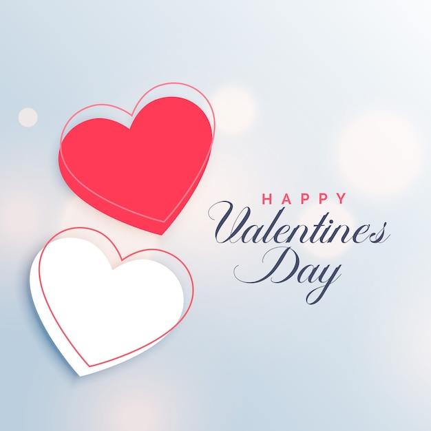 Fond rouge et blanc deux coeurs saint valentin Vecteur gratuit