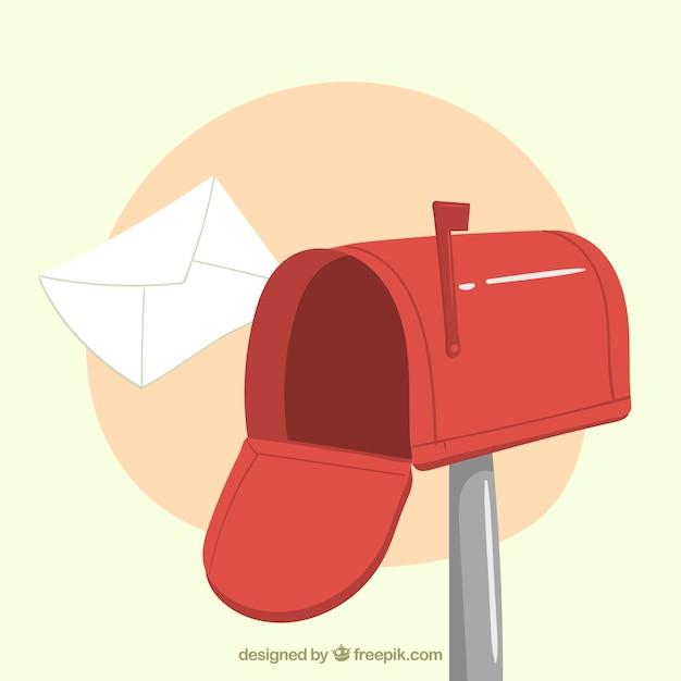 Fond rouge de boîte aux lettres avec enveloppe tirée par la main Vecteur gratuit