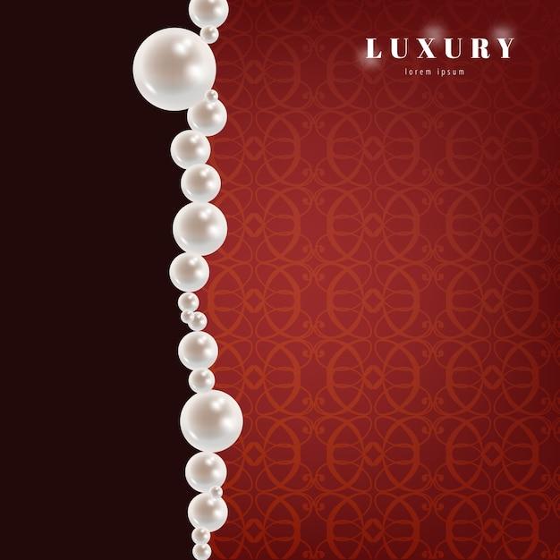 Fond rouge de luxe avec des perles Vecteur gratuit