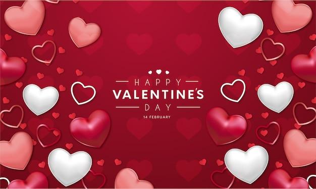 Fond Rouge Moderne Happy Valentine's Day Avec Des Coeurs Réalistes Vecteur gratuit