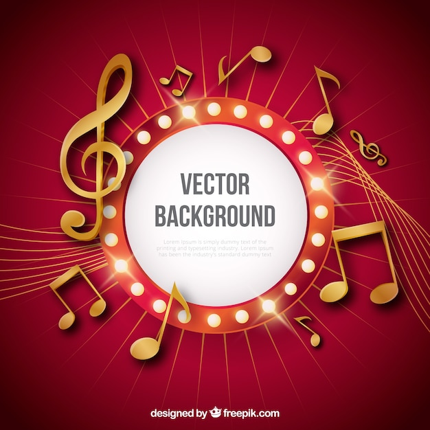 Fond rouge avec des notes musicales dorées Vecteur gratuit
