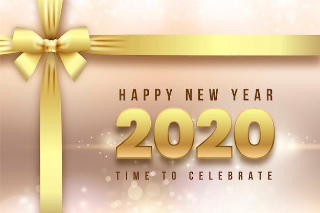 Fond et rubans réalistes de la nouvelle année 2020 Vecteur gratuit