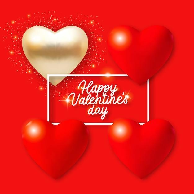 Fond De Saint Valentin Avec 3d Coeurs Rouges Et Dorés, Lumières Et Texte. Illustration De Carte De Vacances Sur Fond Rouge. Vecteur Premium