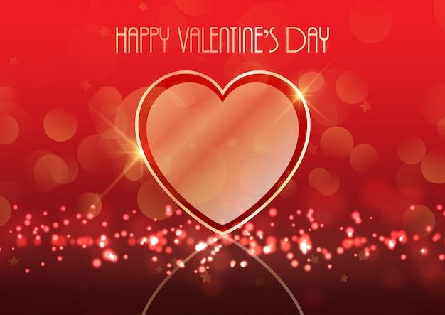 Fond de saint valentin avec coeur d'or Vecteur gratuit