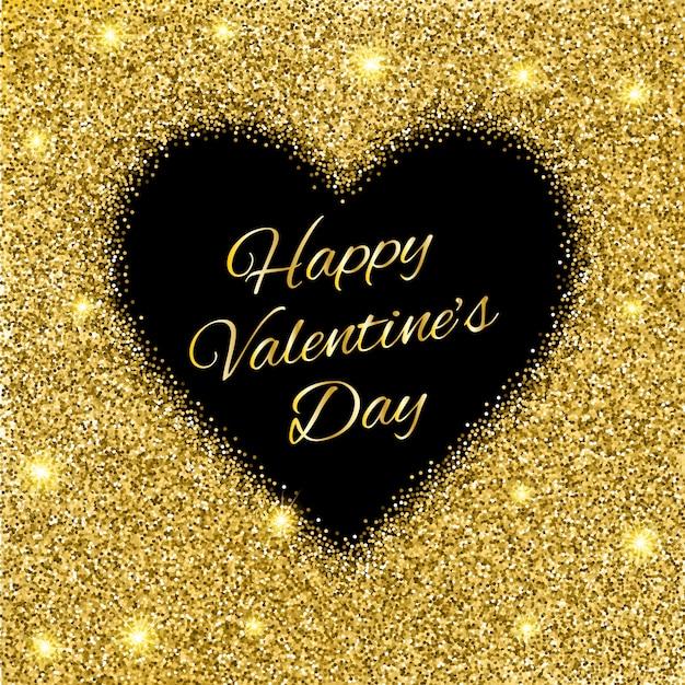 Fond De La Saint-valentin Avec Coeur De Paillettes D'or. Vecteur Premium