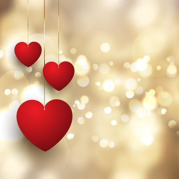 Fond saint-valentin avec des coeurs suspendus sur la conception de lumières bokeh Vecteur gratuit