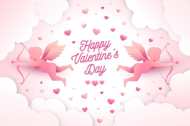 Fond De Saint Valentin Dans Un Style Papier Vecteur gratuit
