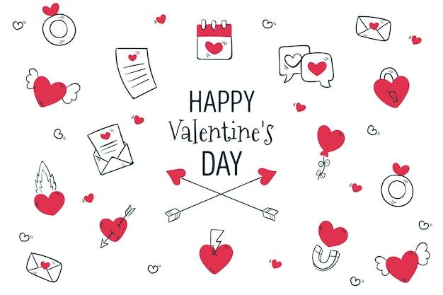 Fond De Saint Valentin Dessiné à La Main Vecteur gratuit