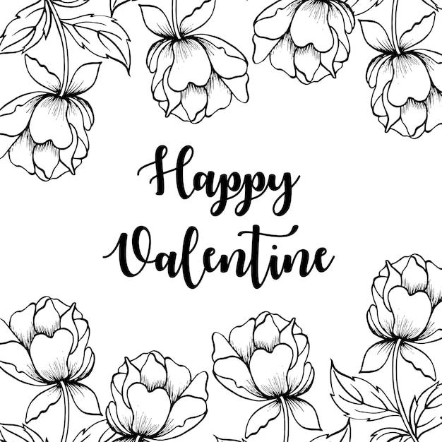 Fond De Saint-valentin Floral Noir Et Blanc Vecteur Premium