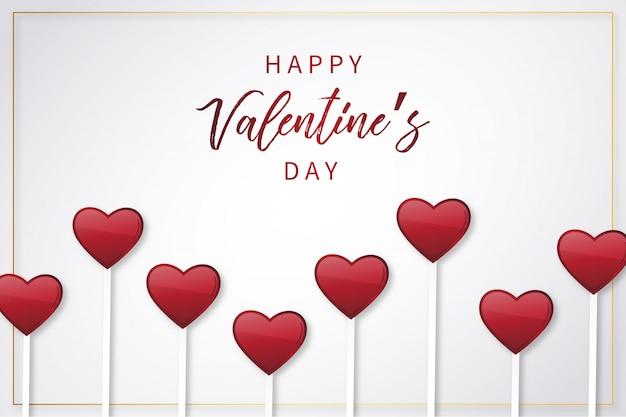 Fond saint valentin heureux avec des coeurs de sucettes Vecteur gratuit