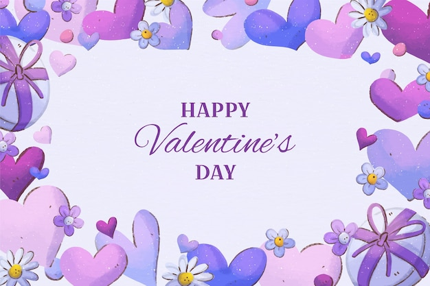 Fond De Saint Valentin Peint à L'aquarelle Vecteur gratuit