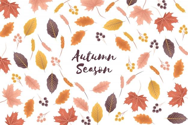Fond de saison d'automne avec illustration de feuilles d'automne Vecteur Premium