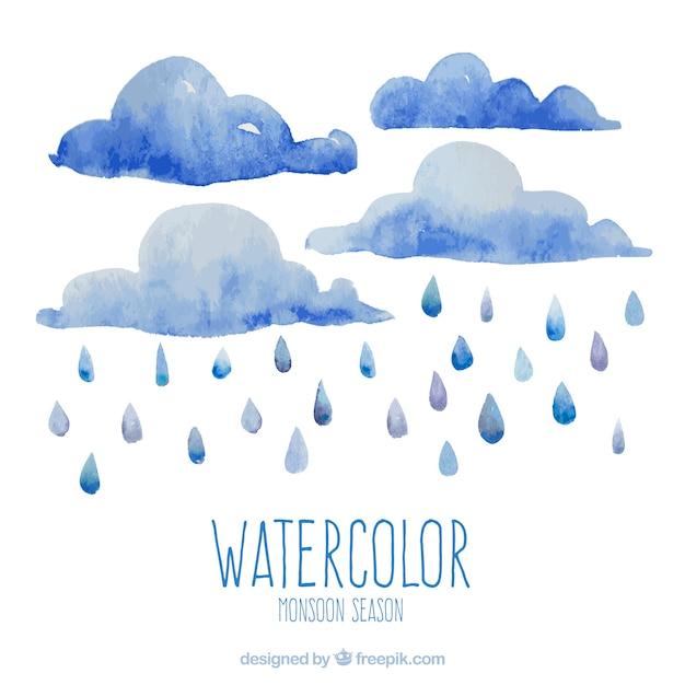 Fond de saison mousson dans un style aquarelle Vecteur gratuit