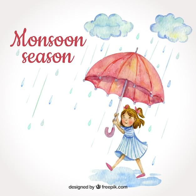 Fond de saison de la mousson avec une fille Vecteur gratuit