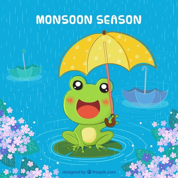 Fond de saison de la mousson avec la grenouille Vecteur gratuit