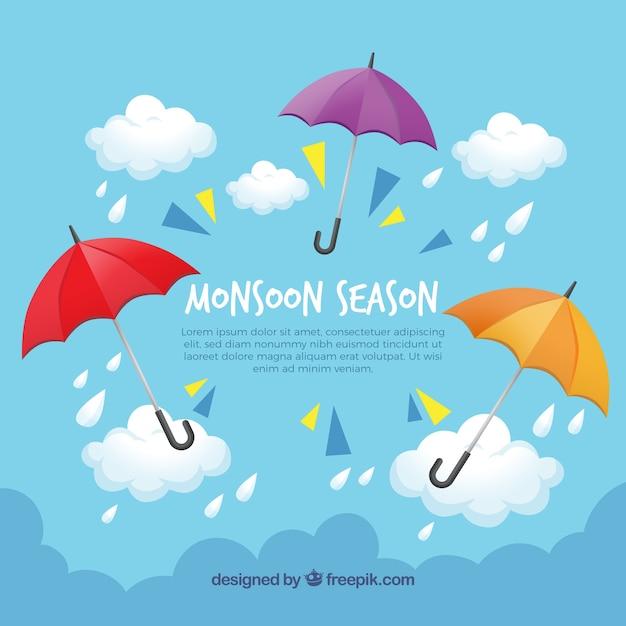 Fond de saison de mousson avec des parapluies Vecteur gratuit
