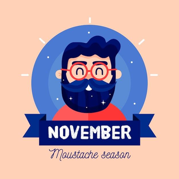 Fond de saison de moustache movember design plat Vecteur gratuit