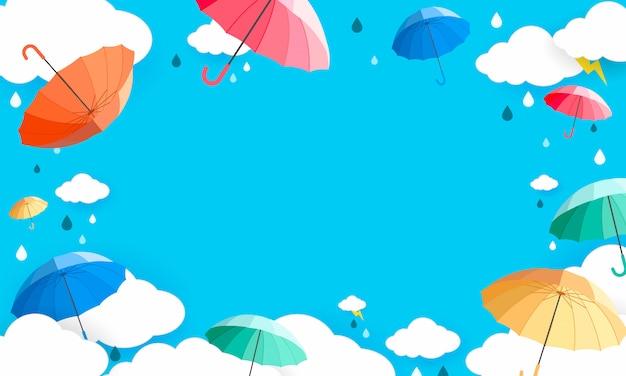 Fond de saison des pluies Vecteur Premium