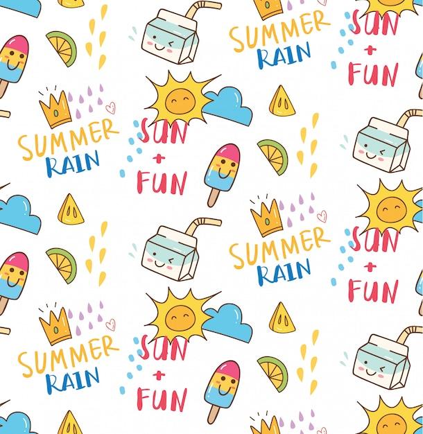 Fond sans couture d'été sur le thème doodle Vecteur Premium