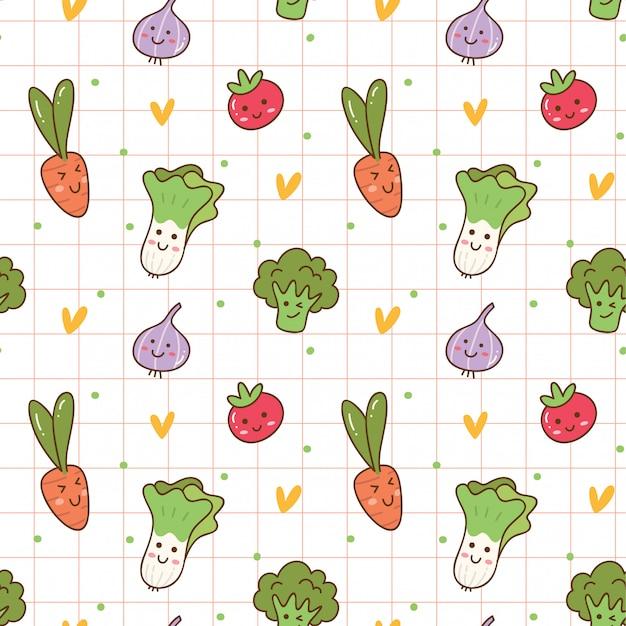Fond sans couture de légumes kawaii Vecteur Premium