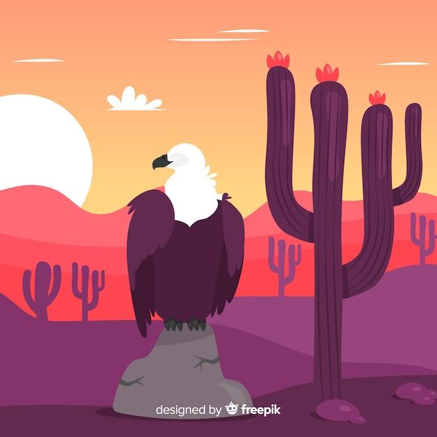 Fond de scène coucher de soleil du désert dessiné à la main Vecteur gratuit
